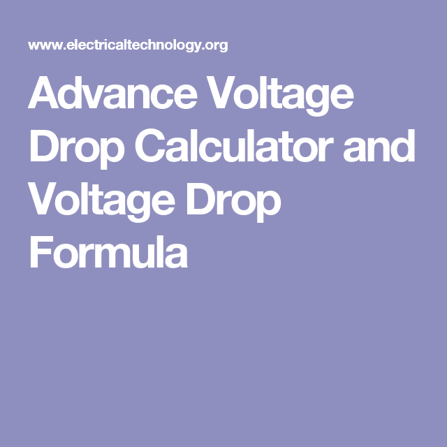 Voltage Drop Calculator (Advanced)