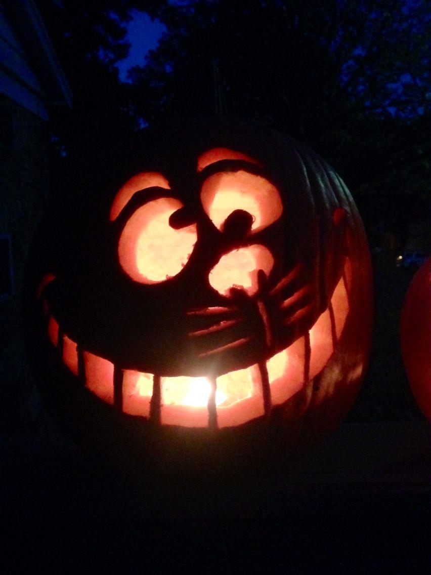 Cheshire Cat pumpkin carving