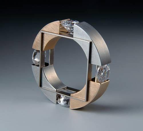 Ring Daniel Chiquet Design Redgold Steel Titanium and zirconia