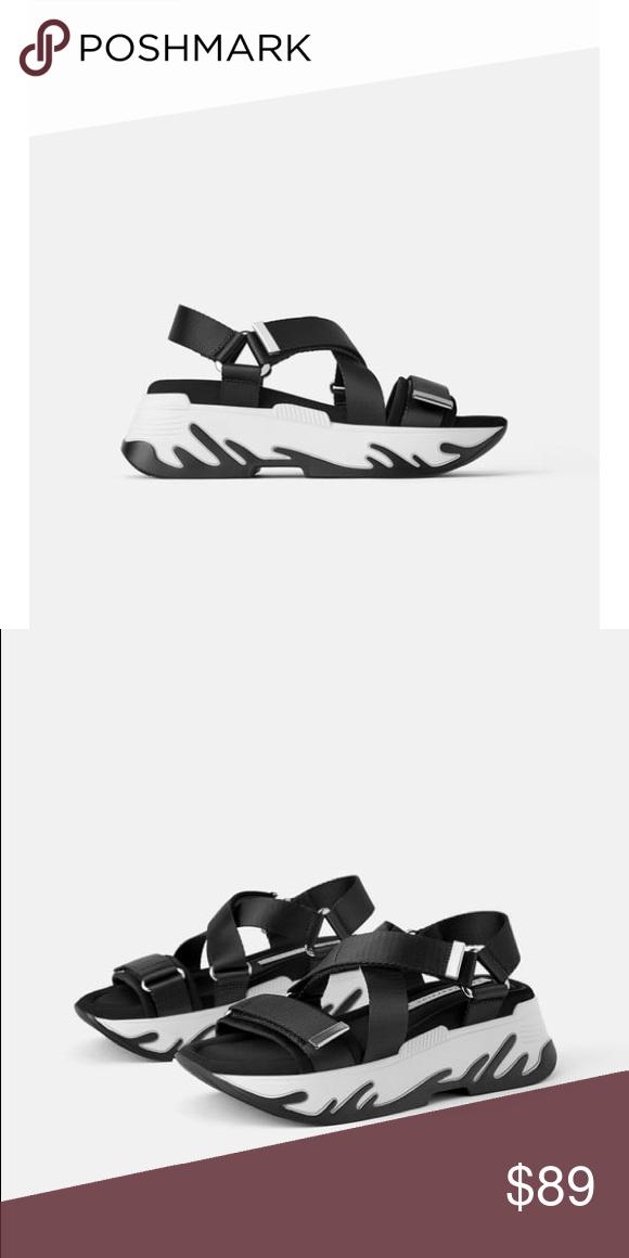 Zara black athletic platform sandals