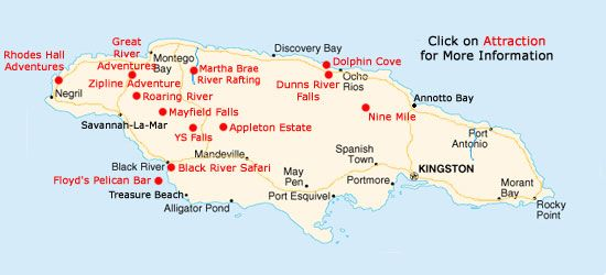 Map of Tours available from Ocho Rios Places I want to go