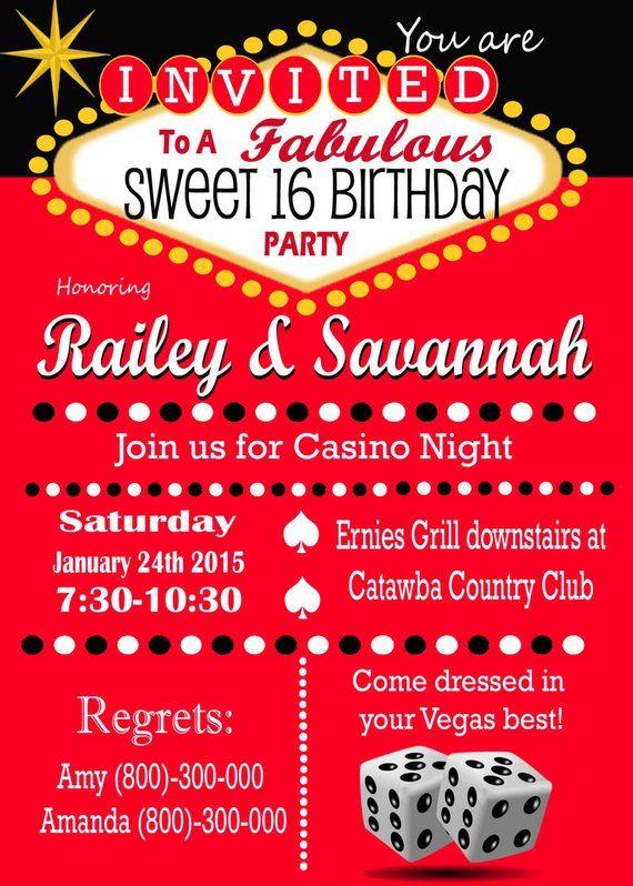 Casino Theme Party Las Vegas Business Event Invitation Retro Pin