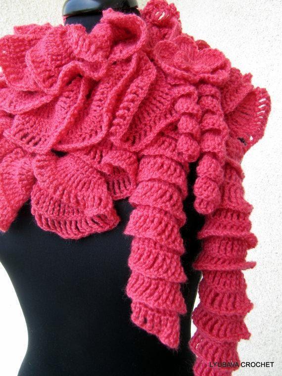 Crochet Pattern, Scarf PATTERN, Ruffle Scarf Pattern, Unique Scarf ...