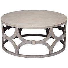 Lanini Gray Wash Round Coffee Table Round Coffee Table Coffee