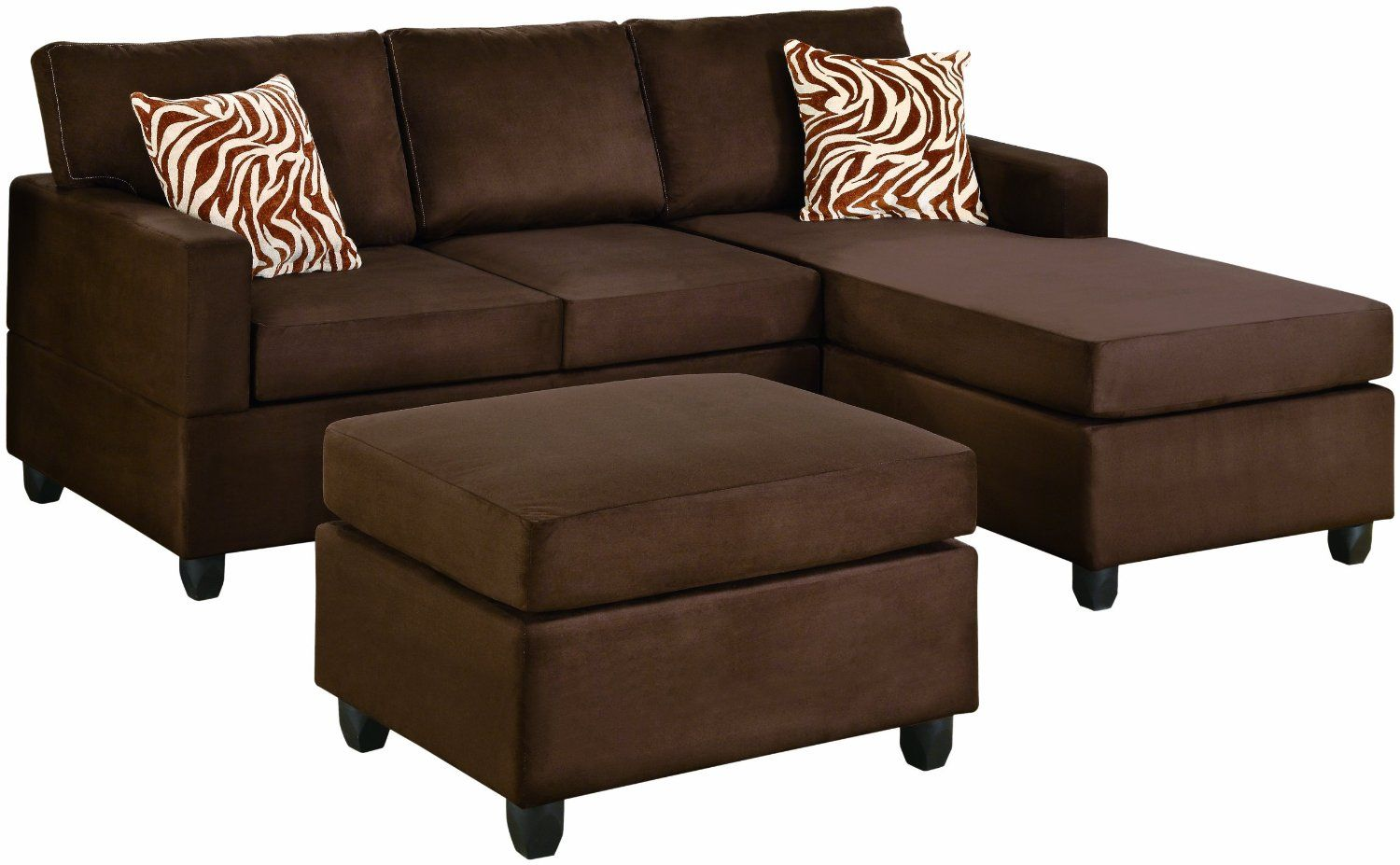 Brown chaise sofa i love this couch minus those pillows deco