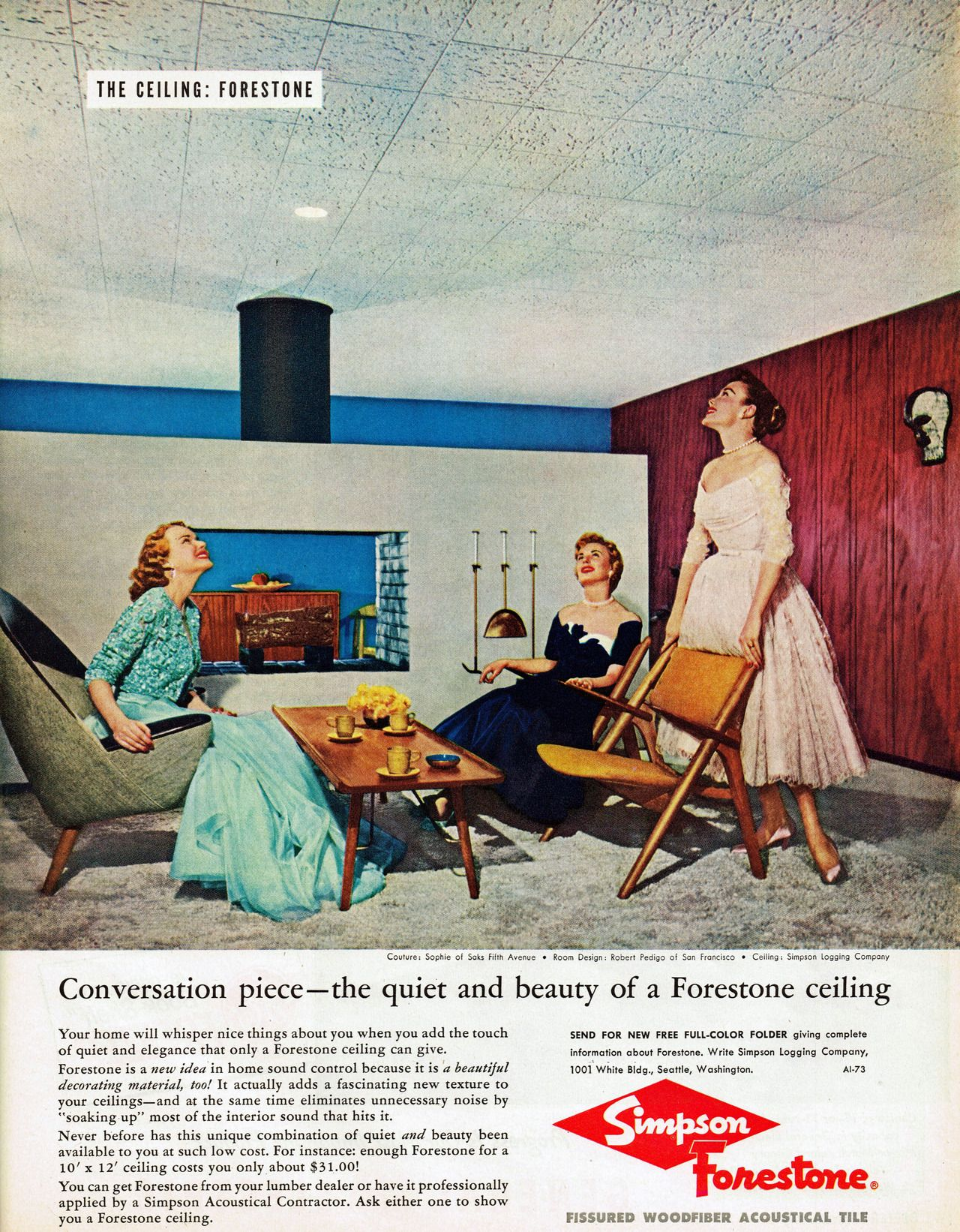 Simpson forestone acoustical ceiling tiles 1957 that ceiling is simpson forestone acoustical ceiling tiles 1957 that ceiling is almost as tacky as nancys dailygadgetfo Choice Image