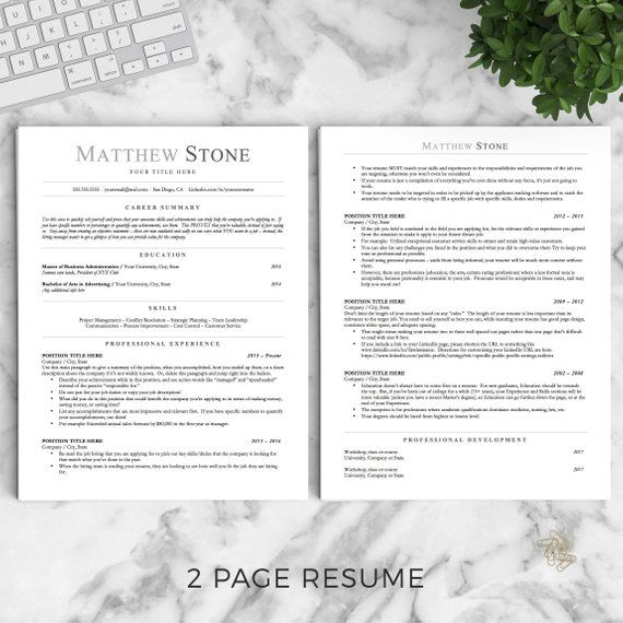 Professional Resume Template for Word Pages and OpenOffice / Etsy