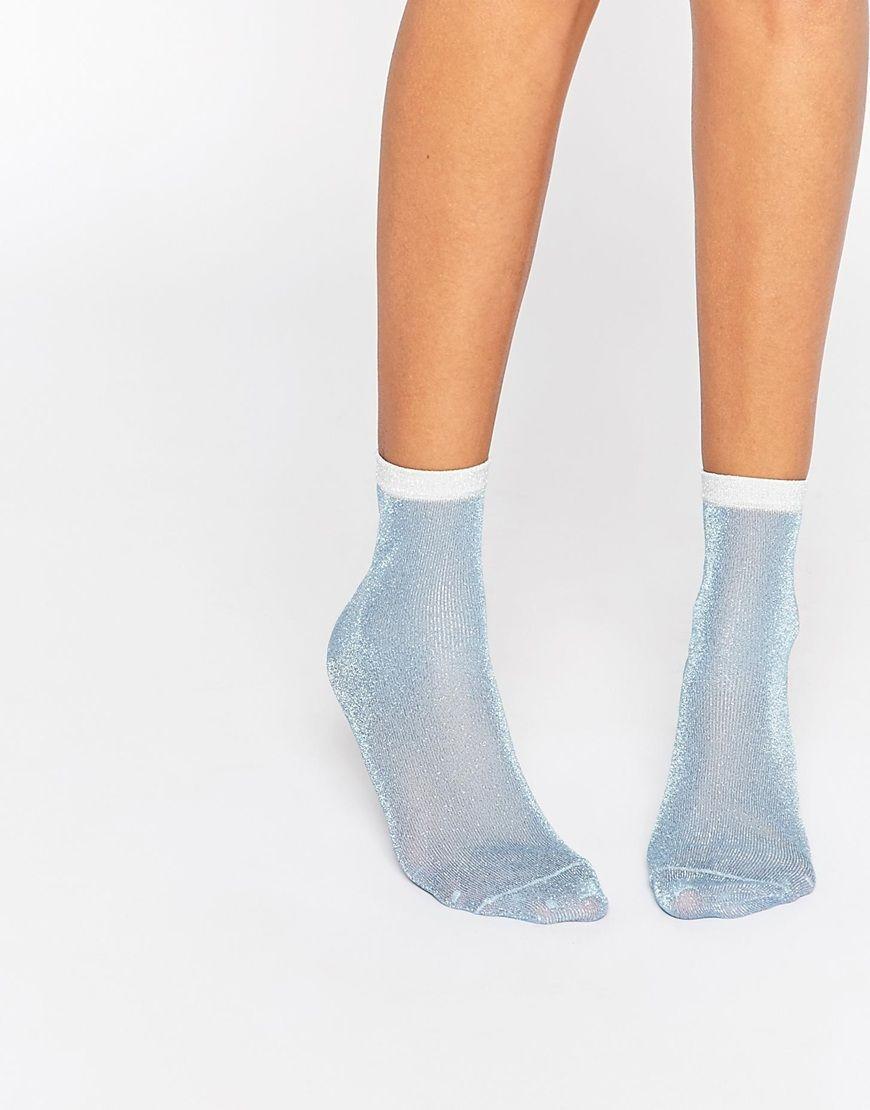 Image 1 ofASOS Glitter Socks With Contrast Tip