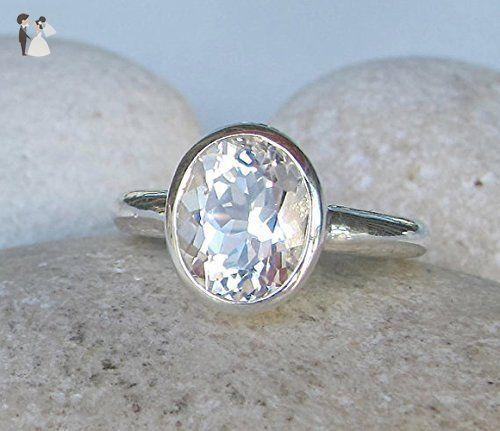 White Topaz Promise Ring- White Gemstone Engagement Ring- Alternative White Bridal Ring- White Nontraditional Engagement Ring - Wedding and engagement rings (*Amazon Partner-Link)