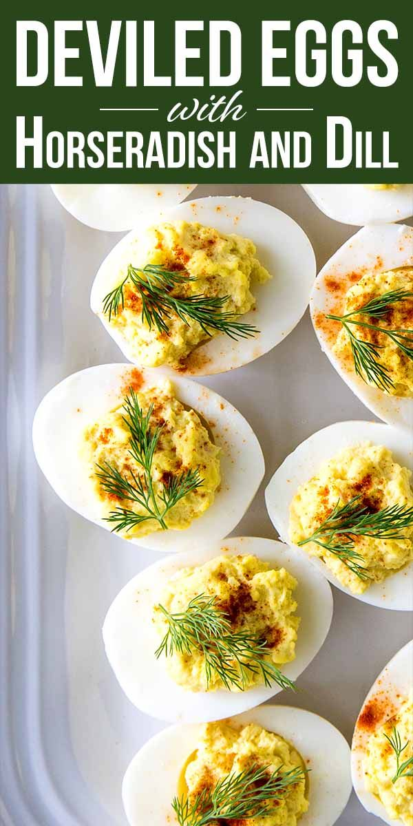 Deviled Eggs with Horseradish and Dill Recipe | SimplyRecipes.com #deviledeggs