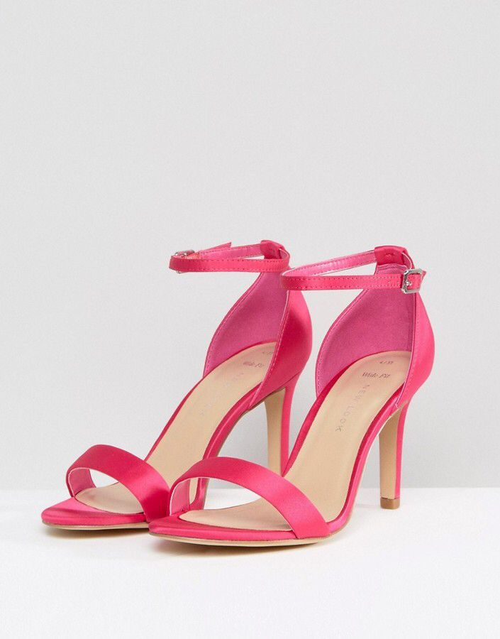 4f2b84dd88b New Look Wide Fit Satin Barely There Heeled Sandal - bright pink ...