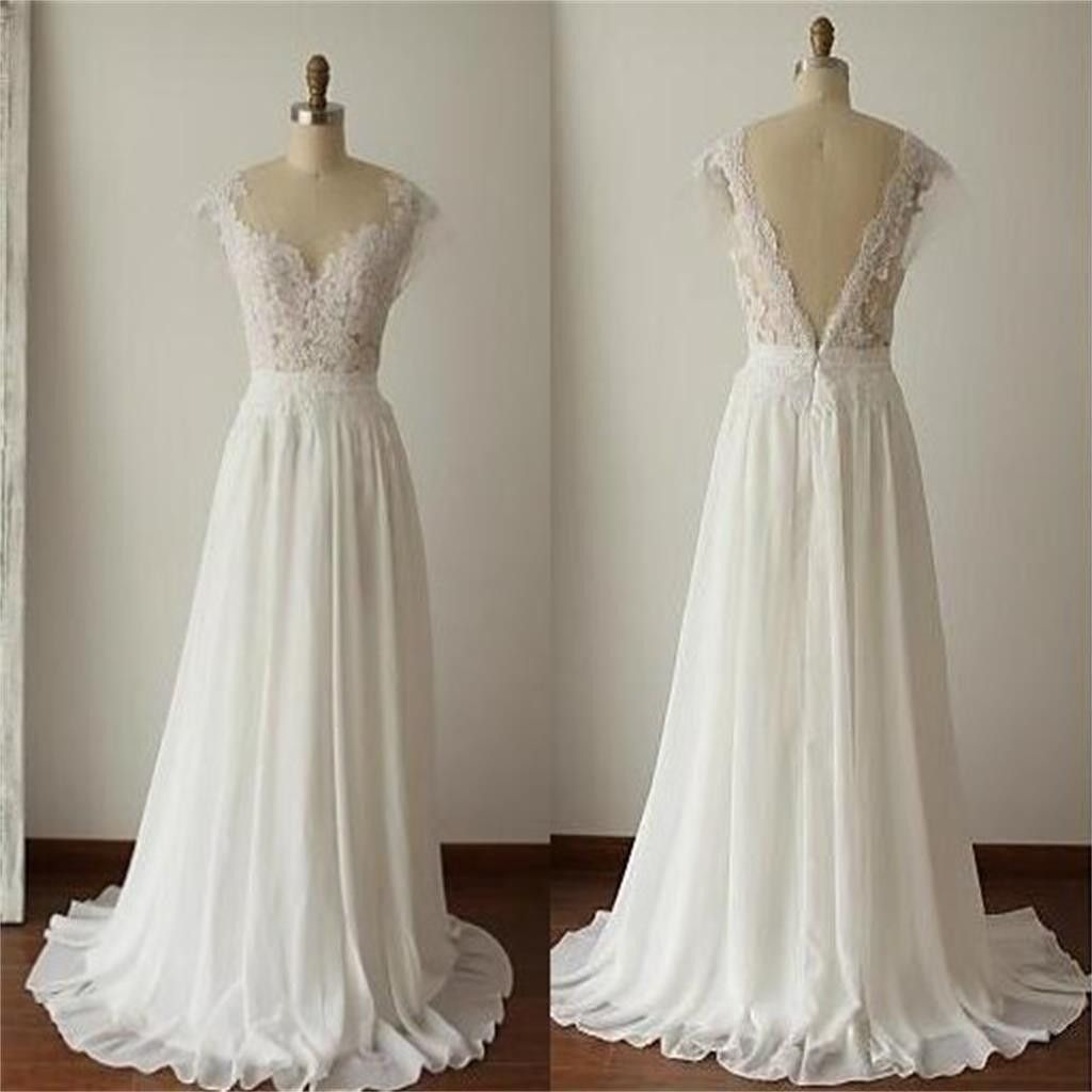 simple long aline vback lace wedding dresses chiffon wedding