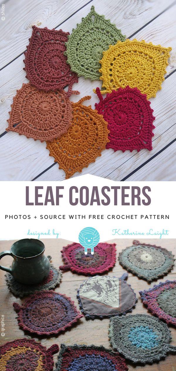 Blatt Untersetzer kostenlos Häkelanleitung #crochetpatterns