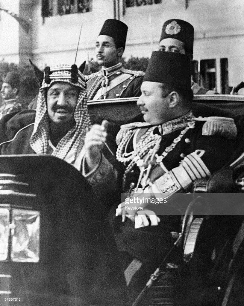 King Ibn Saud of Saudi Arabia (1876 � 1953, left) in Cairo with King Farouk I of Egypt (1920 - 1965), during a state visit by the Saudi monarch, 1945.
