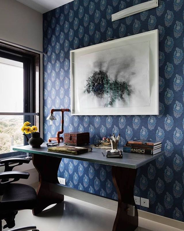 Ranthambore In Indigo From The Sabyasachifornilaya Collection Has Been Use Blue Accent Wall Living Room Living Room Design Decor Accent Walls In Living Room