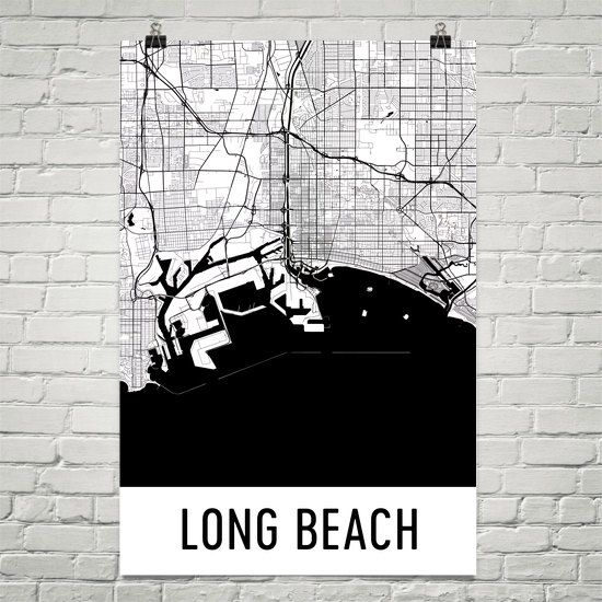 Long Beach Map Art Print, Long Beach CA Art Poster, Long Beach Wall Art, Long Beach Gift, Birthday, Decor, Modern, Art