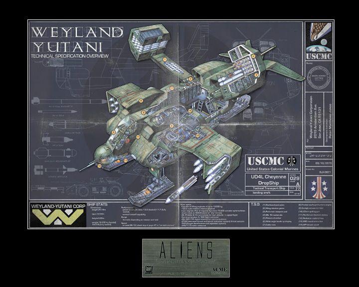Aliens ud-4l Cheyenne Dropship-Vaisseau métal modèle Limited Edition