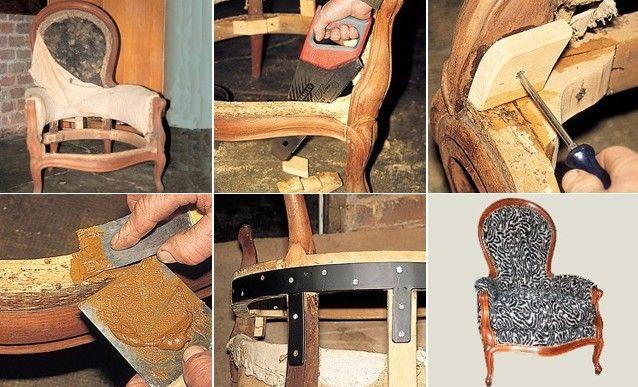 excellent comment restaurer la structure dun fauteuil de style with comment tapisser une chaise. Black Bedroom Furniture Sets. Home Design Ideas
