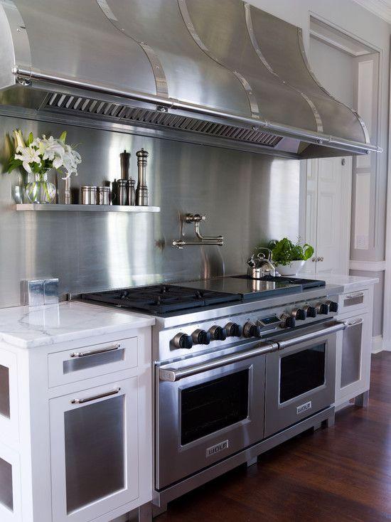 Gorgeous Kitchen Amazing Stainless Steel Range Double Ovens Beautiful Hood Backsplash Love The Pot Filler Faucet Herringbone Backsplash Backsplash House