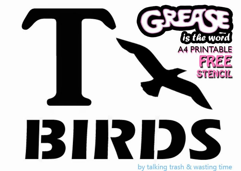 Free A4 printable T-BIRD & PINK LADIES Grease costume stencil for DIY Halloween dress-up crafts