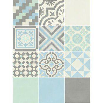 Carreau de ciment Belle époque décor gris, bleu, vert et blanc, l