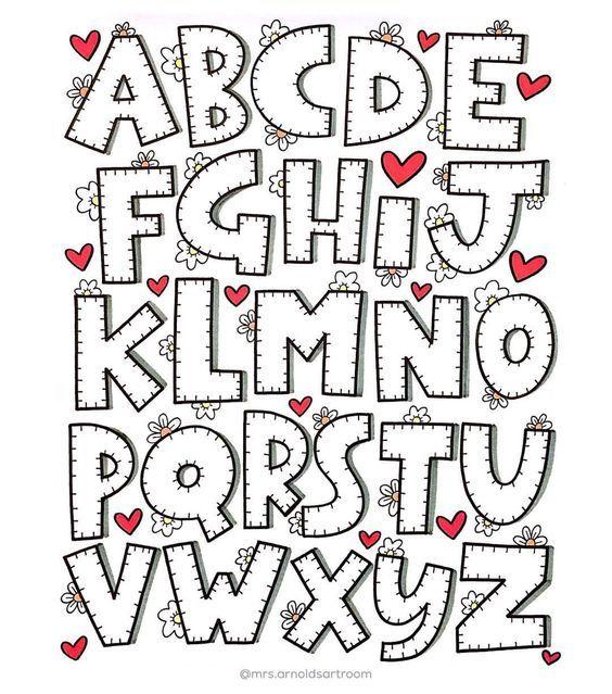 Abecedario Facil Para Dibujar Tipos De Letras Abecedario Moldes De Letras Estilos De Letras