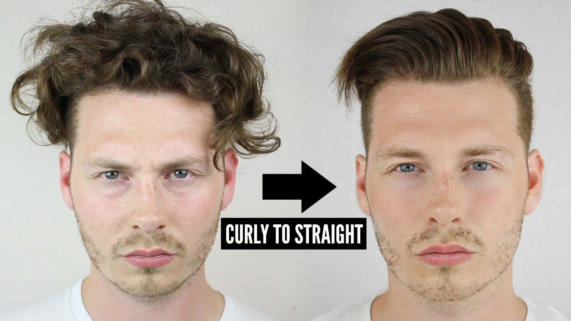 Mens Curly To Straight Hair Tutorial How To Style Curly Hair 2016 Curly Hair Styles Straight Hairstyles Hair Straightner