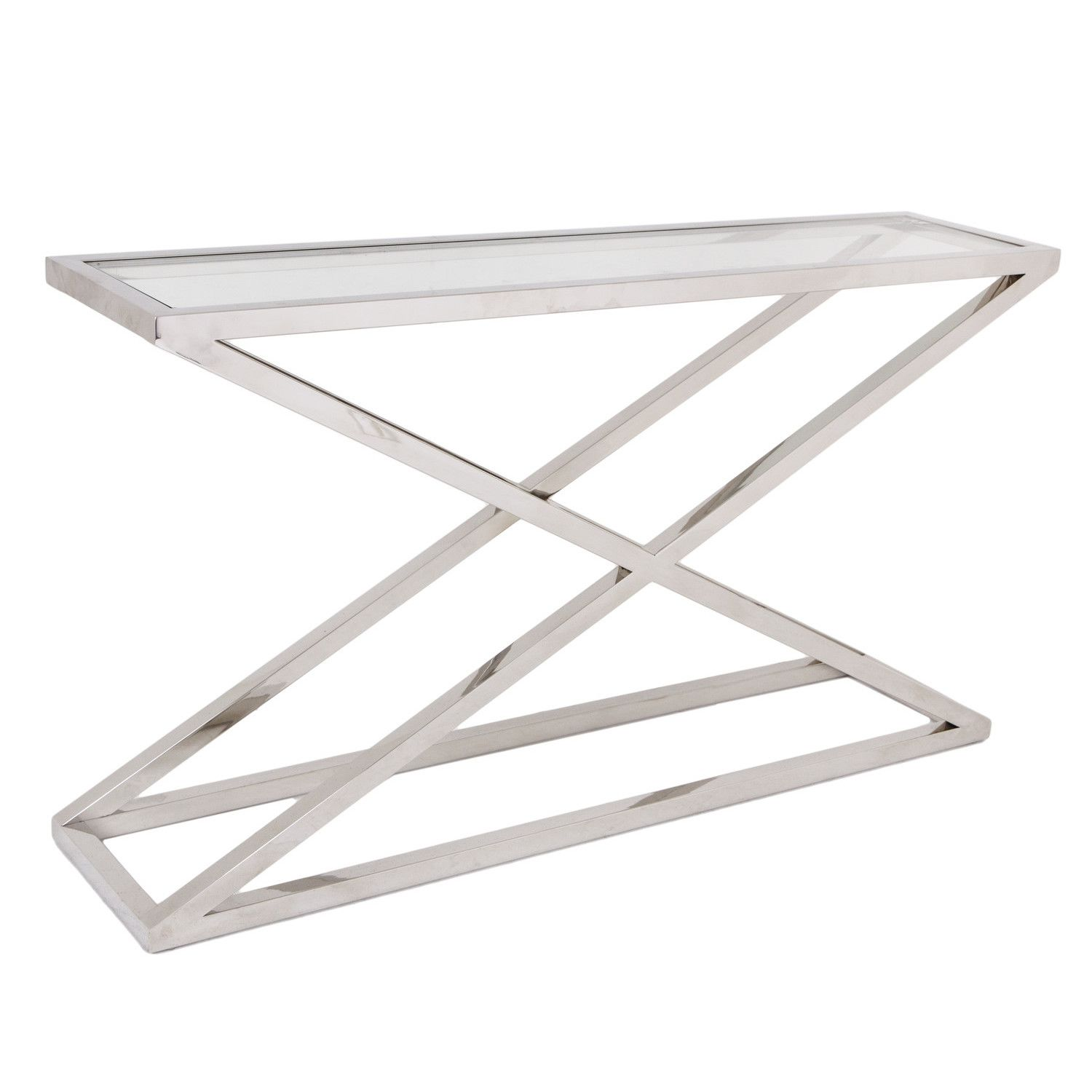 Beau Brooklyn Chunky Chrome U0026 Glass Console Table U2013 Shropshire Design