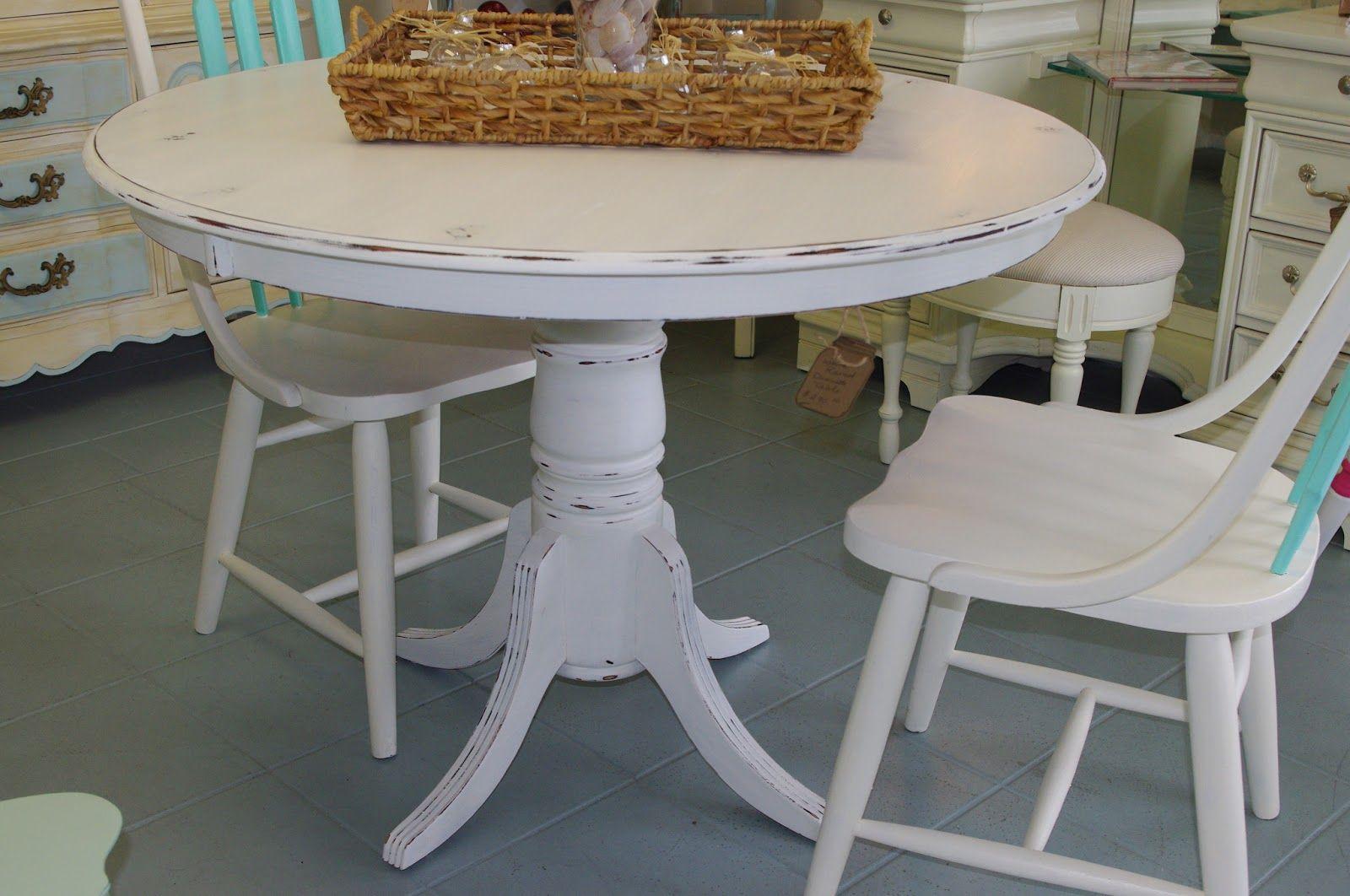 white distressed kitchen table