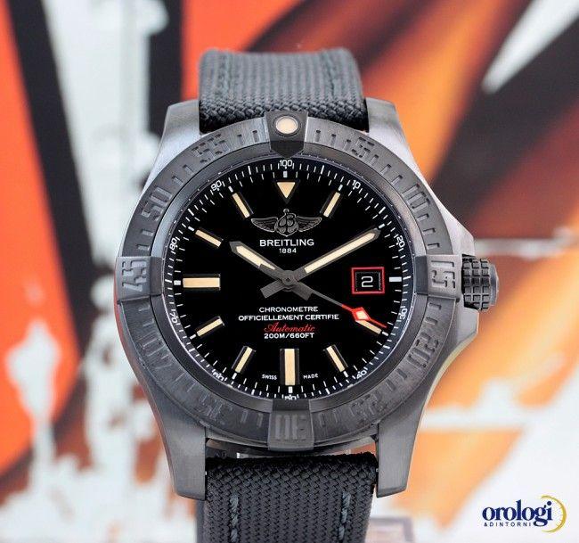 23c7739ca Breitling Avenger Blackbird 44 Black Titanium Military Strap V1731110 BD74  109W | eBay