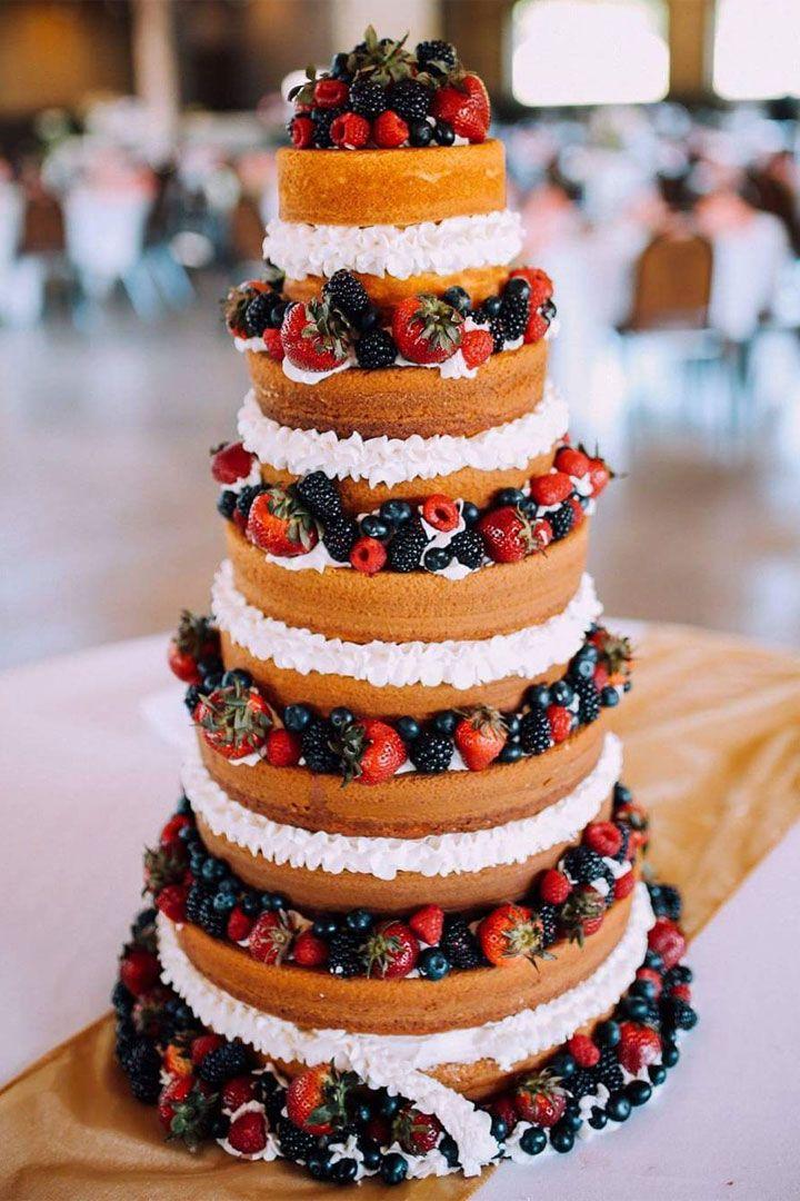 Beautiful naked wedding cake decorated with summer fruits #weddingcake #weddingcakeideas