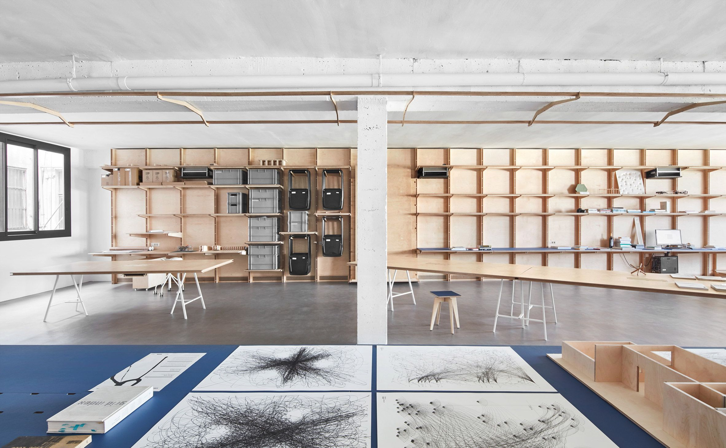 Barcelona Warehouse Transformed Into Flexible Co Working Space For  Architects And Designers. Two Milled Timber Multifunctional Walls Line The  Length Of The ...