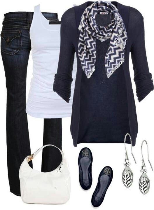 9551c11a8cb The flats and earrings should be plain because of the scarf...regardless  the look is very nice