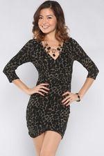 Animal Leopard Glittery Dress, Black