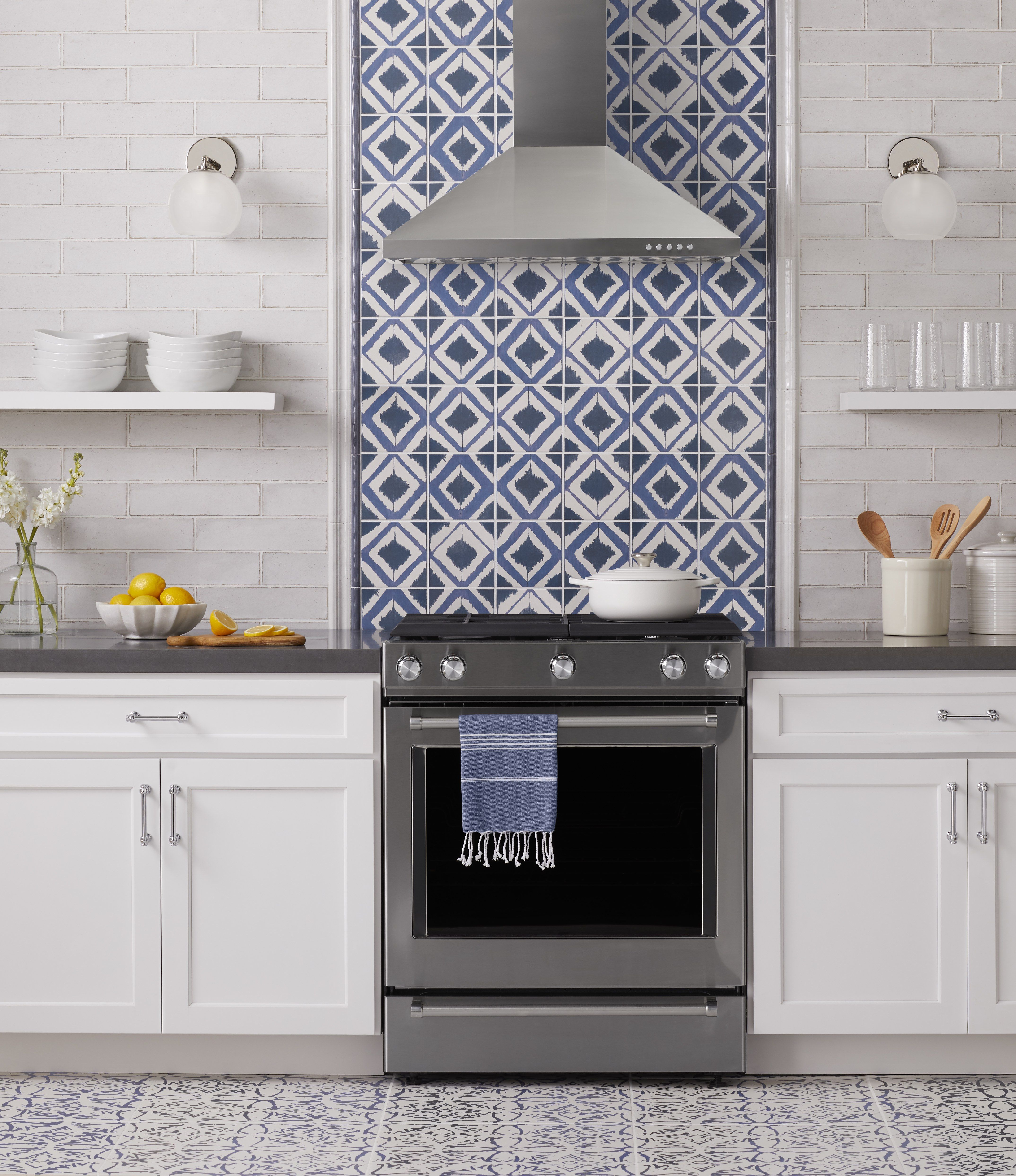 Annie Selke Shadow Navy Is A Ceramic Wall Tile With A Boldly Colored Pattern Made Softer Wi Tile Accent Wall Kitchen Blue Backsplash Kitchen Kitchen Wall Tiles