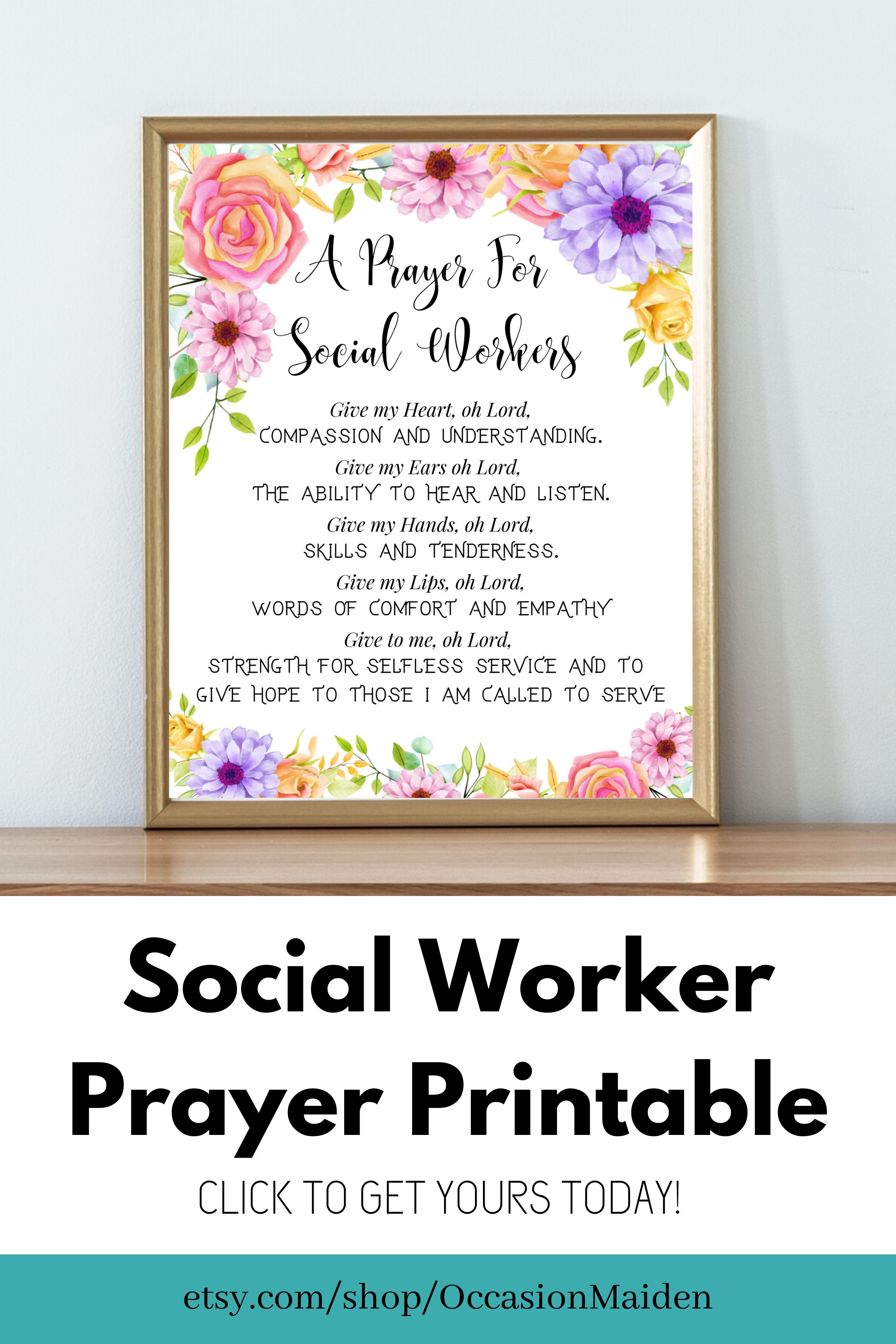 Masters Of Social Work Gift Social Work Poster Prayer Social Worker Office Decor School Social Work Desk Wall Art Msw Gifts Caseworker Bsw Social Worker Office Decor Office Gifts Supervisor Gifts