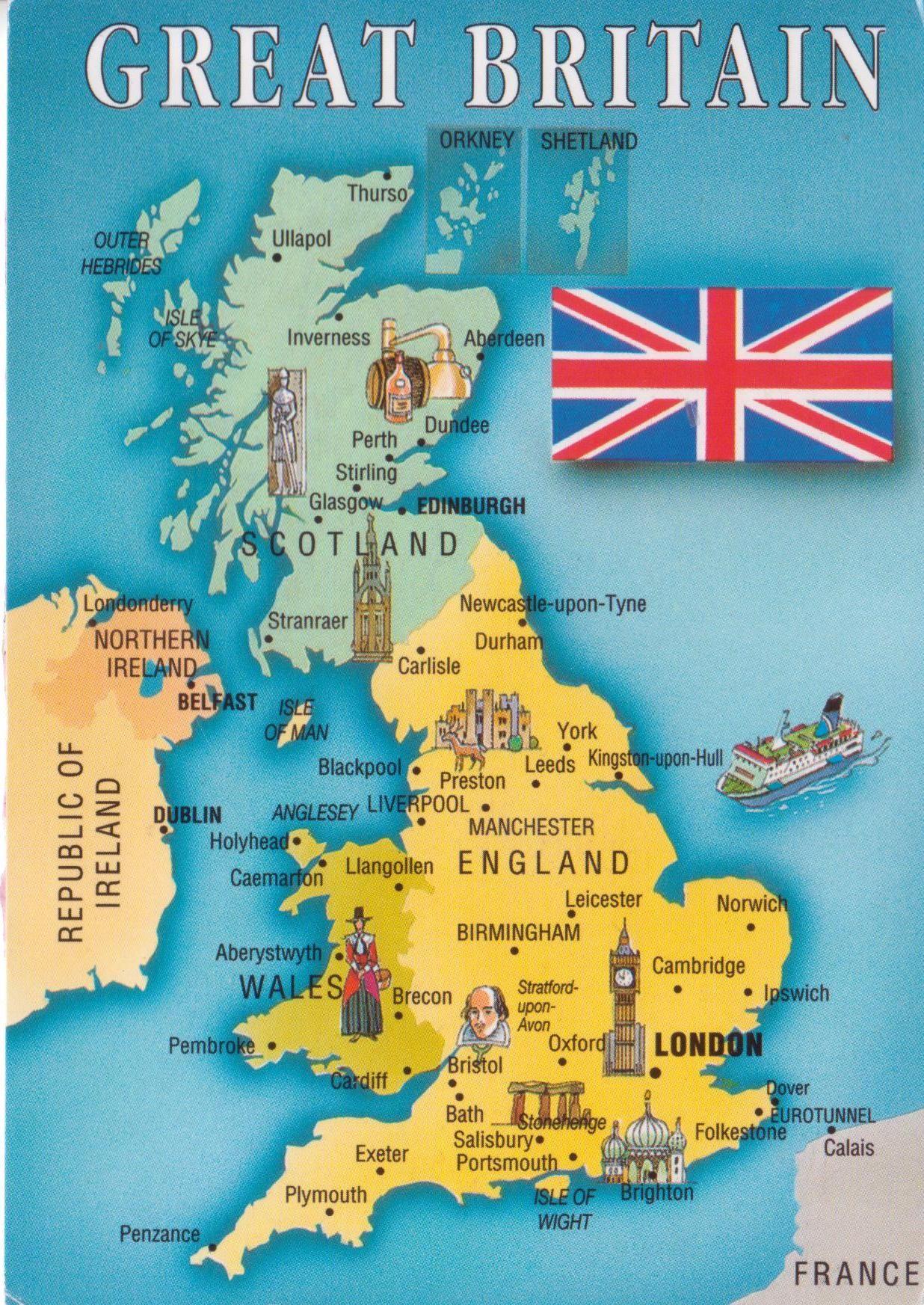 Grã-Bretanha   Dream Destinations   United kingdom map, England ...