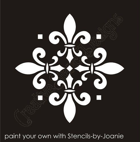 Stencil Fleur De Lis Decorative 4 Tile Design Wall Art Crafts Home Arts Crafts Decorative Tole Paint Stencils Wall Diamond Wall Stencil Damask Stencil