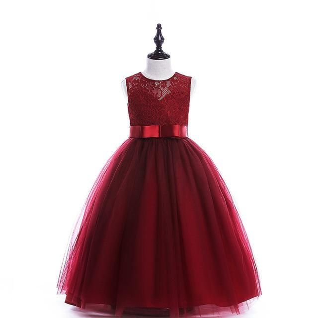 a5e10b52e39ed long style children party dress 2 colors 8 10 12 14 16 Years kids teens  clothes teenagers girls wedding dress