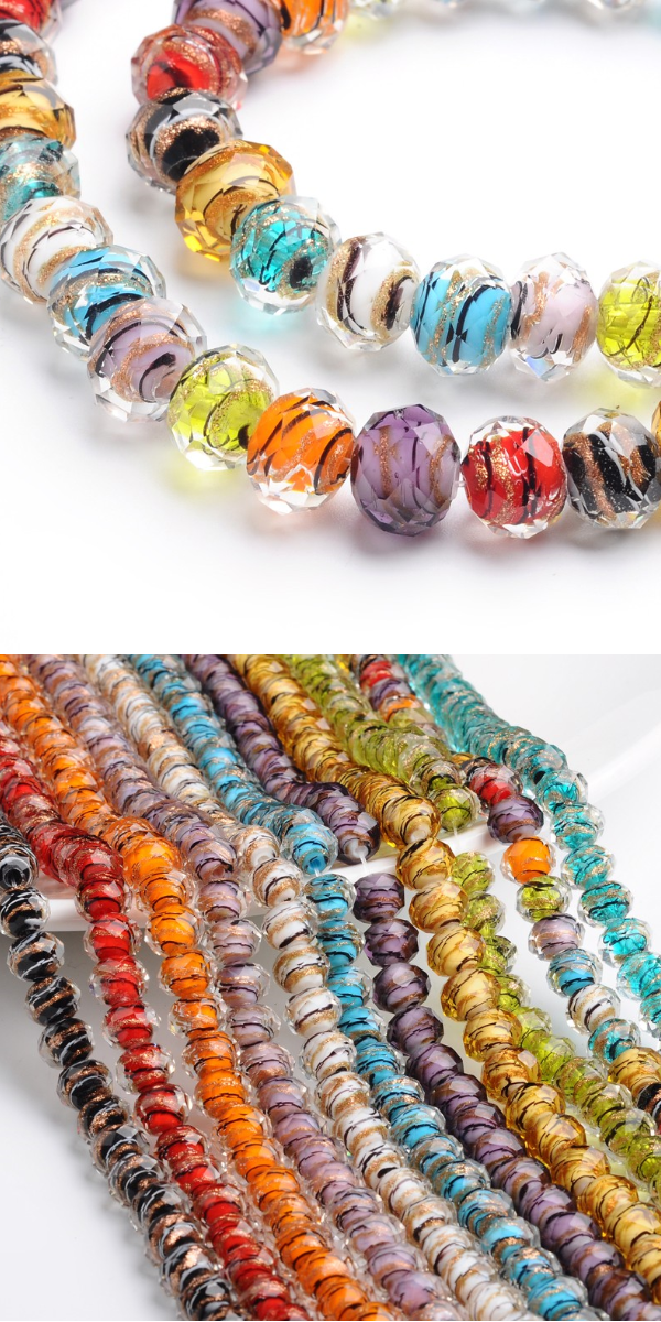 20pcs Handmade Lampwork Round Beads Craft with Gold Sand Mixed Color 12mm