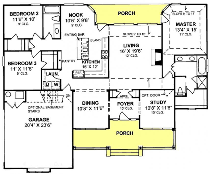655797 1 Story Traditional 3 Bedroom 2 Bath Plan With Large Front Porch House Plans Floor Plans Home Plans Pl House Plans Floor Plans House Floor Plans