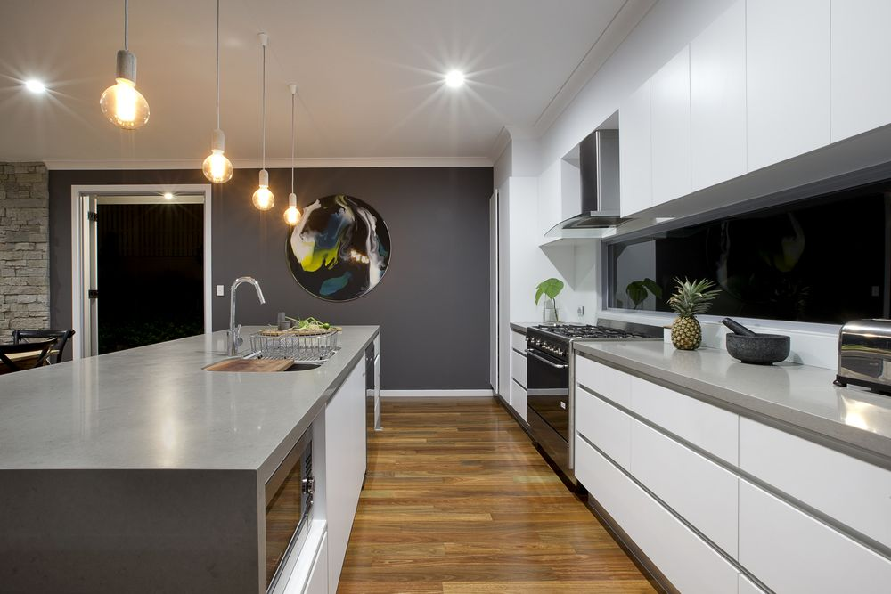 White Kitchen Feature Wall polar white cabinets caesarstone oyster benchtops dulux lexicon on