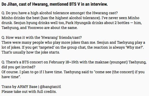 "ARMY Base no Twitter: ""Do Jihan, cast of Hwarang, mentioned #BTS V in an interview. https://t.co/91Xjd5v7dr https://t.co/D5bNVU3dVk"" ."
