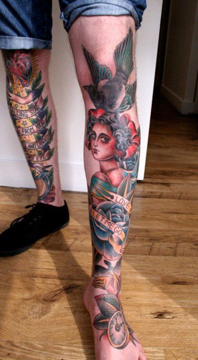 Traditional leg tattoos from tumblr | Tattos | Pinterest ...
