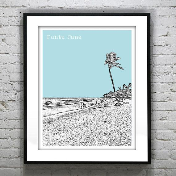 Punta Cana Skyline Poster Art Print Dominican by AnInspiredImage, $18.95