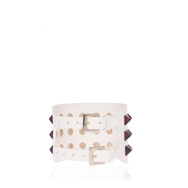 Valentino Rockstud Leather Bracelet ($360) ❤ liked on Polyvore