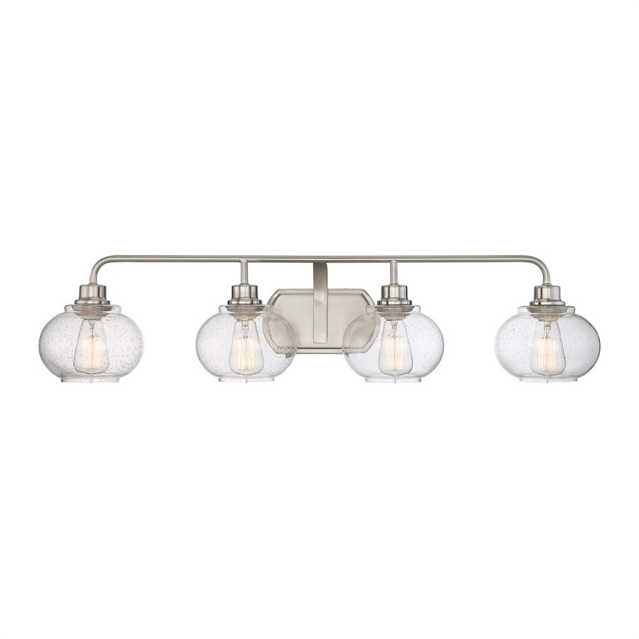 Quoizel trilogy 4 light brushed nickel orb vanity - 8 light bathroom fixture brushed nickel ...