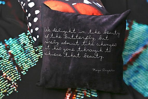 Velveteen Pillow Maya Angelou Inspirational Pillow Butterfly Quote Nature Black Decorative Pi Black Decorative Pillows Pillow Inspiration Pillow Gift