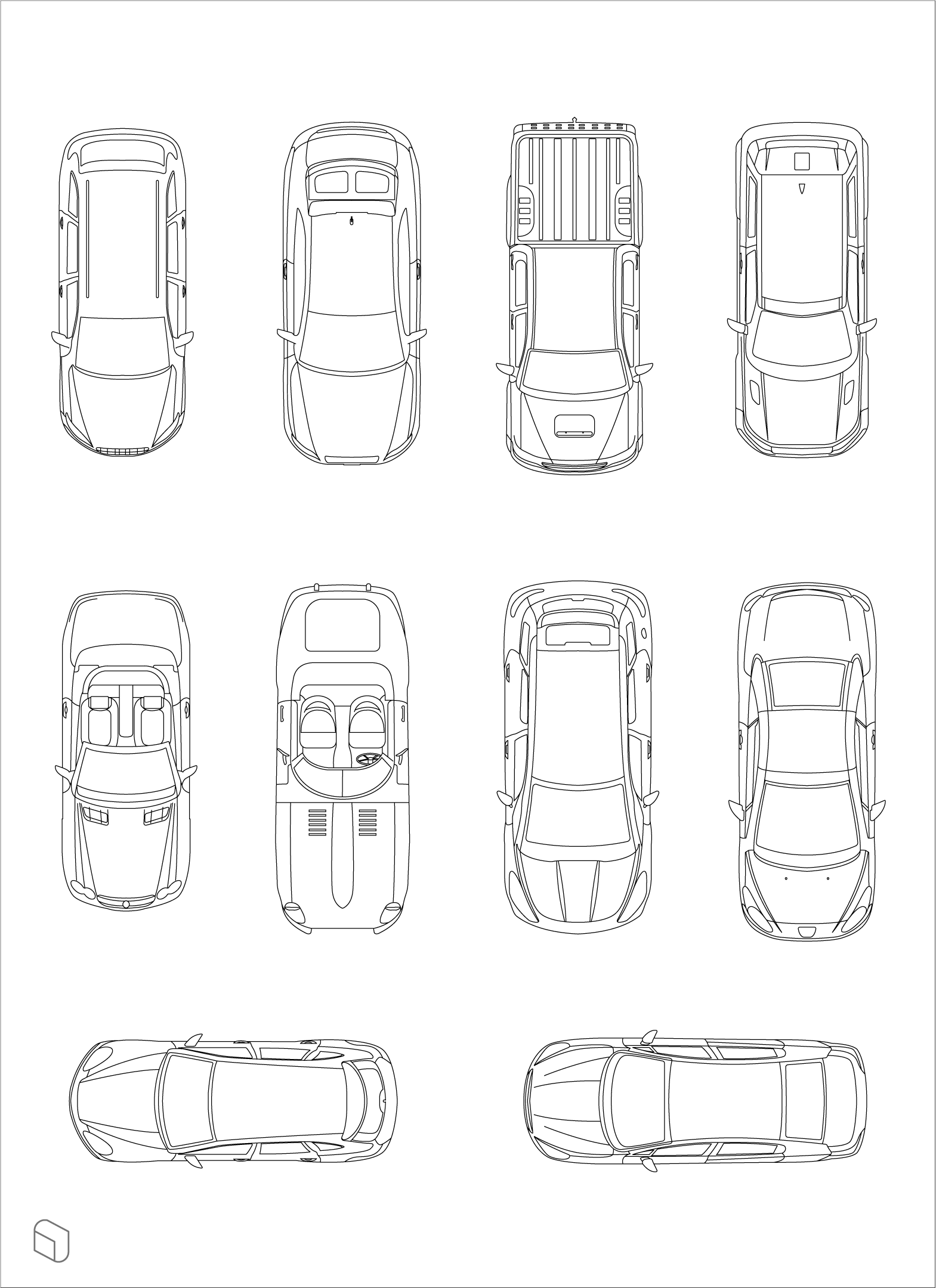 Free Dwg Top View Cars Car Top View Top View Architecture Drawings