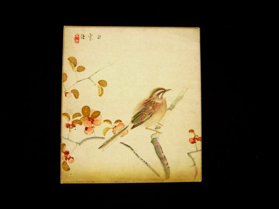 Bird Vintage Japanese Print Magazine Insert November 1932 Sparrow and Camellia